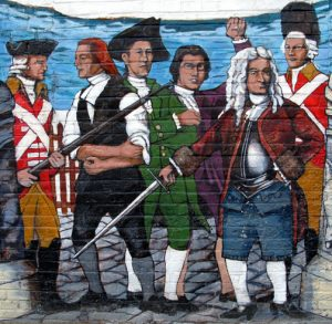 "Ipswich History Mural by Alan Pearsall for EBSCO, 2006 Local color dabbed into mural -- ""Residents star as characters in painting of historic scenes"" By David Rattigan,  Boston Globe ,  January 14, 2007"