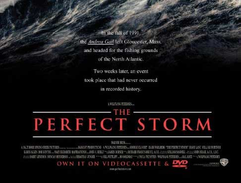 The Perfect Storm movie cover page that was a large wave and text that explains how Gloucester has never had a storm like this one.