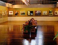 Art Gallery with seating in the middle.