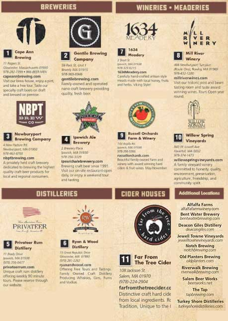 A list of Breweries, Wineries, Meaderies, Distilleries, and Cider Houses on the North Shore of Boston.