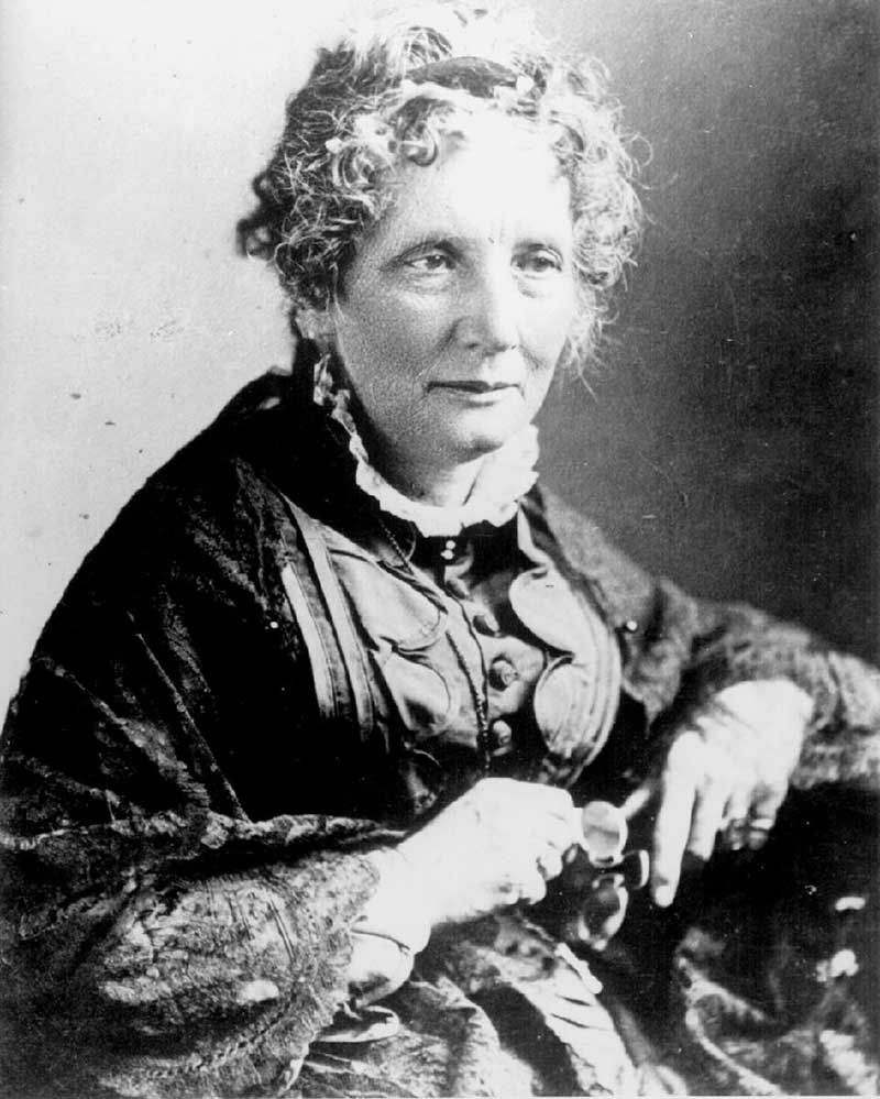 Black and white portrait of Harriet Beecher Stowe.