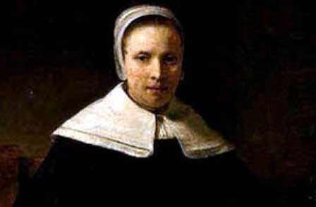 Portrait of Anne Bradstreet with a white bonnet and white shall.