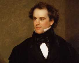 A painted portrait of Nathaniel Hawthorne wearing a black bowtie and suit.