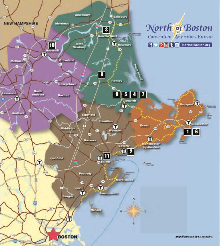 A map of all the towns on the North Shore of Boston.