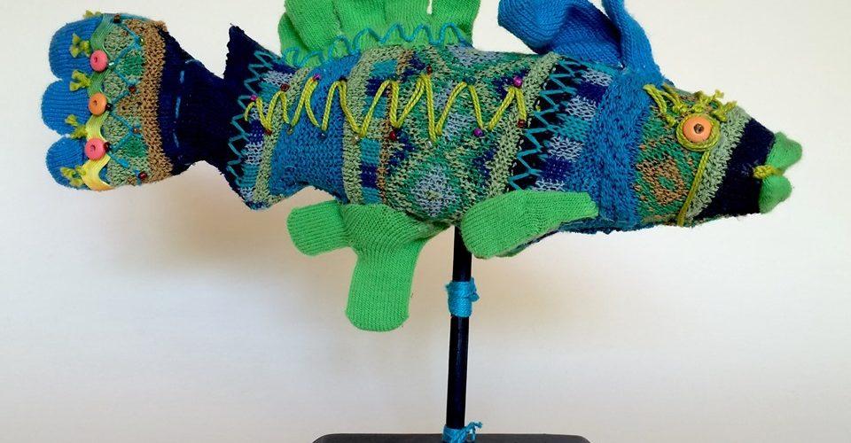 Textile Fish Art at Paula Estey Gallery Sewing Bee